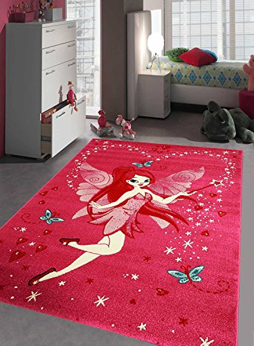 Teppich Kinderzimmer Mädchen Kids Fee aus Polypropylen, durch unamourdetapis, Teppich für Kinder, rosa, 120 x 170 cm
