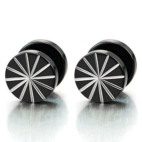 10MM Edelstahl Fakeplugs Fake Plug Tunnel Schwarze Ohrstecker Herren Ohrringe Ohr-Piercing mit Laser-Muster, 1 Paar (Ohrstecker 10mm)