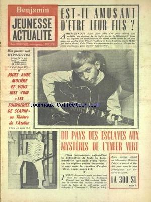 JEUNESSE ACTUALITE [No 209] du 02/12/1956 - VEDETTES DE CINEMA - DE LA RADIO OU DE LA TELE -EST-IL AMUSANT D'ETRE LEUR FILS - DU PAYS DES ESCLAVES AUX MYSTERES DE L'ENFER VERT - LES FOURBERIES DE SCAPIN AU THEATRE DE L'ATELIER par Collectif