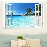 Skyllc® Adesivo da parete con grande finestra mare 3D con vista sulla finestra, decalcomanie smontabili in PVC per la casa, manifesti fai-da-te per soggiorno, camera da letto, sala da pranzo