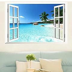 Idea Regalo - Skyllc® Adesivo da parete con grande finestra mare 3D con vista sulla finestra, decalcomanie smontabili in PVC per la casa, manifesti fai-da-te per soggiorno, camera da letto, sala da pranzo
