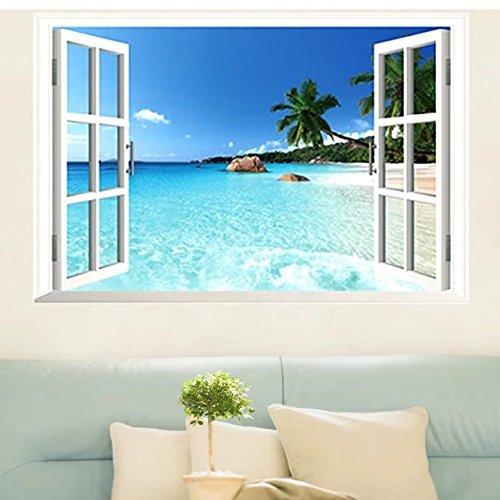 Skyllc Adesivo da parete con grande finestra mare 3D con vista sulla finestra, decalcomanie smontabili in PVC per la casa, manifesti fai-da-te per soggiorno, camera da letto, sala da pranzo