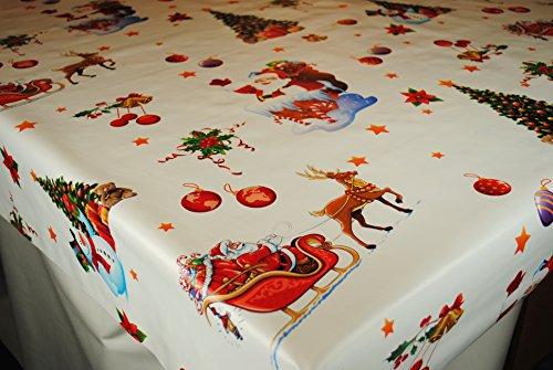 Christmas Santa slitta su bianco by Karina Home tovaglia in PVC con rotolo 20metres x 140cm