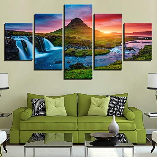 mmwin Wandkunst Leinwandbilder Bilder 5 Stücke Schöne Island Wasserfall s Green Mountain River...