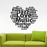guijiumai Parole Musicali Vinile Adesivo Musica Hip Hop Rock Pop Home Interior Stickers Murale Camera da Letto Soggiorno Classroom Decor Rosa 67X57 CM