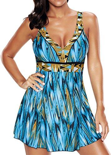 Eudolah UV schutz Badeanzug Swimwear Badekleid Strandkleid Tankini mit kurz Hose Badehose Himmelblau Gr.5XL