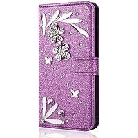 Shinyzone Glitzer Diamant Brieftasche Hülle für Samsung Galaxy J4 2018,Handgefertigt 3D Strass Feder Blume Muster... preisvergleich bei billige-tabletten.eu