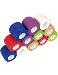 Juvale Vet Wraps – 12-Pack Adhesive Gauze Rolls, Cohesive Bandage, Self Adhesive Bandage Wrap for Animals, Self Adherent Wrap, Assorted Colors, 2 Inches x 66.9 Inches