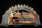 Großer 3D Schwibbogen verschneit, indirekt beleuchtet, Fachwerkhaus mit elektrischer Pyramide 72cmx41cm Handarbeit aus dem Erzgebirge