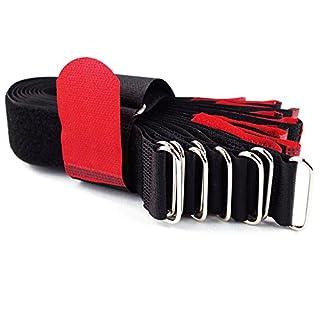 10 x Klettkabelbinder Metallöse - Klett / Flausch auf GLEICHER SEITE! - 40 cm rot / Kabelmanagement für Gewerbe, Büro, Schreibtisch, Hobby