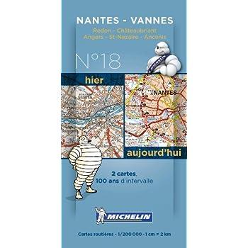 Pack 2 cartes hier/aujourd'hui Nantes - Vannes Michelin