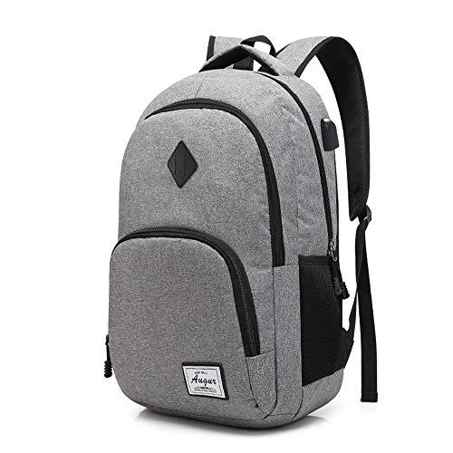 Laptop Rucksack Business Rucksack für 15.6 Zoll Laptop Schulrucksack mit USB-Ladeanschluss für Arbeit Wandern Reisen Camping für Herren Damen, Oxford, 20-35L (Grau) -