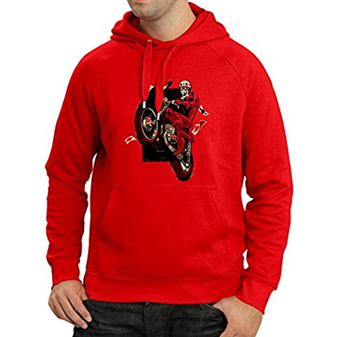 Hoodie Motorcyclist - Motorcycle clothing, vintage designs retro clothing (X-Large Red Multi Color)