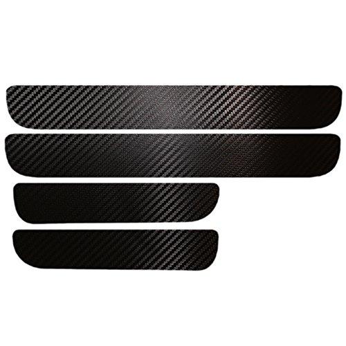 Universal Einstiegsleisten (Set!) Schutzfolie Kohlefaser mit hellen Aufklebern Schwarz -