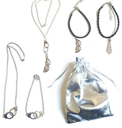 Pochette cadeau spéciale St Valentin 50 nuances de Grey 5 bijoux couleurs argent parure menotte