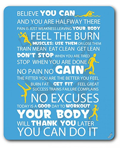 1art1 89549 Motivation - Fitness, You Can Do It, Blau Mauspad 23 x 19 cm