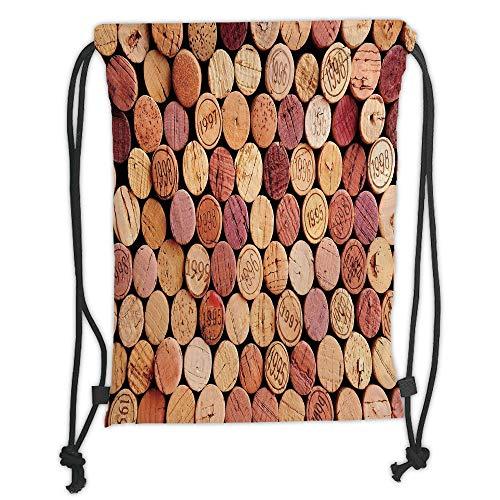 Fashion Printed Drawstring Backpacks Bags,Wine,Random Selection of Used Wine Corks Vintage Quality Gourmet Taste Liquor,Mustard Mauve Maroon Soft Satin,5 Liter Capacity,Adjustable String Closure,T Gourmet Backpack Kitchen
