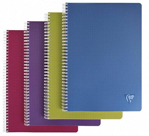 Clairefontaine 329116c - blocco note con costa a spirale, a4, linicolor intense, a righe, 90 pagine, colori assortiti