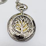 Montre collier pendentif arbre de vie de charmes hommes de montre de poche collier montre de poche Pendentif Arbre de Vie Simple rond