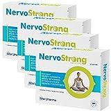 4x NervoStrong   120 Tabletten für 4 Monate   Einschlafhilfe & Unterstützung Nervensystem und zur Beruhigung   Vegan - Apotheken-Qualität