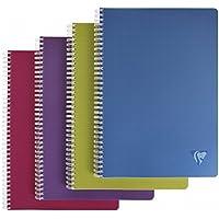 Clairefontaine Linicolor 329116C Cahier à spirale A4 grands carreaux 180 pages 90 g Couleur Aléatoire