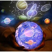 Proyector giratorio del cosmos, luz de noche aumentada Lámpara de la proyección del diamante 3 modos USB y soporte de batería con patrones cambiables para el partido mágico y el dormitorio de los niños