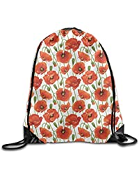 cleaer Rose Floral Pattern Prints Gym Drawstring Backpack Unisex Portable Sack Bag 14 X 16.5 Inch