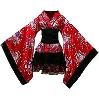 FENICAL Kimono Japonés de Cerezo Disfraz de Lolita Mucama Anime Cosplay Vestido para Halloween Carnaval Foto Prop Talla M (Rojo)