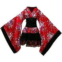 LUOEM Traje de criada tradicional japonesa Kimono Cosplay Outfit Maid Costume Dress Size S (Red
