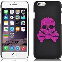 JAMMYLIZARD | Back Cover Hülle für [ iPhone 6 & 6s 4.7 Zoll ] mit fluoreszierendem TOTENKOPF Muster, SCHWARZ / PINK