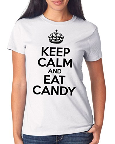 Keep Calm And Eat Candy T-Shirt Girls Blanco-XL