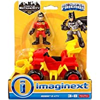 Imaginext - DRY83 - DC Super Friends - Fisher Price Toy - ATV Cycle - Robin Action Figure - Batman Gotham