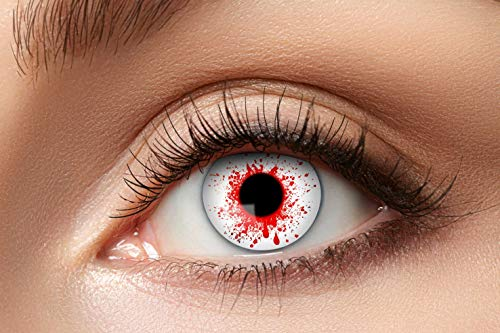Zoelibat Farbige Kontaktlinsen für 12 Monate, Bloodshot3, 2 Stück, BC 8.6 mm / DIA 14.5 mm, Jahreslinsen in Markenqualität für Halloween, Fasching, Karneval, weiß/rot