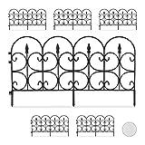 Relaxdays, Zwart bekken hek van weerbestendig kunststof, 30 cm hoog, mooi decoratief hek, met grondpennen, 6-delige set, 4 m