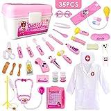 HERSITY 35 Stück Arztkoffer Medizinisches Spielzeug Doktor Set Rollenspiele Lernspielzeug Geschenke für Kinder Rosa