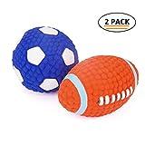 EETOYS Hundespielzeug aus Latex Quietschspielzeug Ball für Hunde, L Fußball & Rugby