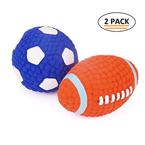 EETOYS Hundespielzeug aus Latex Quietschspielzeug Ball für Hunde, S Fußball & Rugby
