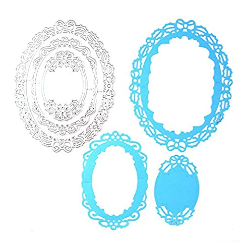 enipate Metall Oval Schleife Rahmen sterben Formen Vorlage Schablonen für Scrapbook Fotoalbum dekorativer Prägung Ordner DIY Papier