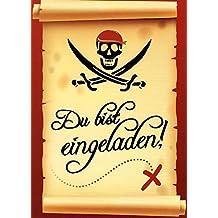Einladungskarten Kindergeburtstag Junge Set mit Umschlägen und Innentext Kinder Motiv Pirat (8 Karten) // Einladung Kindergeburtstag Pirat (K04)