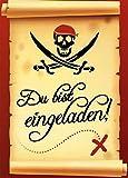 Einladungskarten Kindergeburtstag Junge mit Innentext Motiv Pirat 12 Karten im Postkartenformat DIN A6 mit Umschlägen Einladung Geburtstag Pirat (K04)