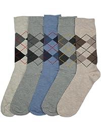12Paar Herren Mixed Argyle Designs beige grau blau Socken Größe 6–11