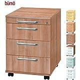 BÜMÖ® Rollcontainer mit 3 Schüben & Schloss | Bürocontainer aus Holz | Tischcontainer mit Rollen | in 6 Dekoren (Nussbaum)