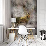 FORWALL Fototapete Tapete Hirsch P4A (254cm. x 184cm.) Photo Wallpaper Mural AMF10145P4A Gratis Wandaufkleber Natur Wild Wald Tier Tiere Hirsch Gold Golden