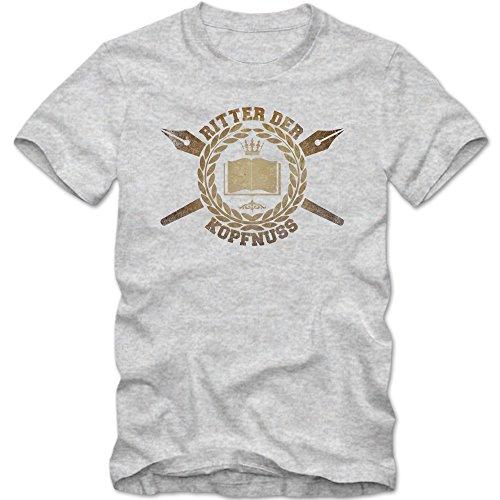 Ritter der Kopfnuss T-Shirt | Herren | Beruf Lehrer | Berufsgruppen | Buch | Schule | Herrenshirt © Shirt Happenz Graumeliert (Grey Melange L190)
