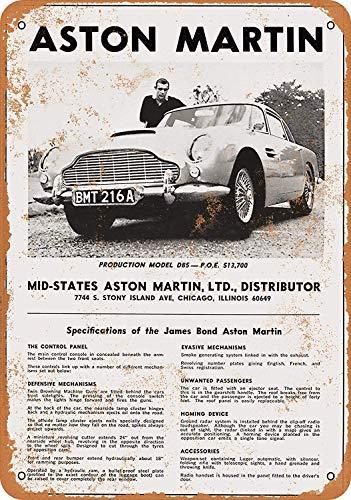1966 James Bond Aston Martin - Cartel de Metal (20 x 30 cm), diseño de James Bond