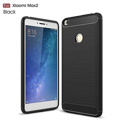 Xiaomi Mi Max2 Funda Regalos Cristal Vidrio Templado,xinyunew Carcasa Case TPU Fibra de carbon Dibujo Funda para Xiaomi Mi Max2(Negro)
