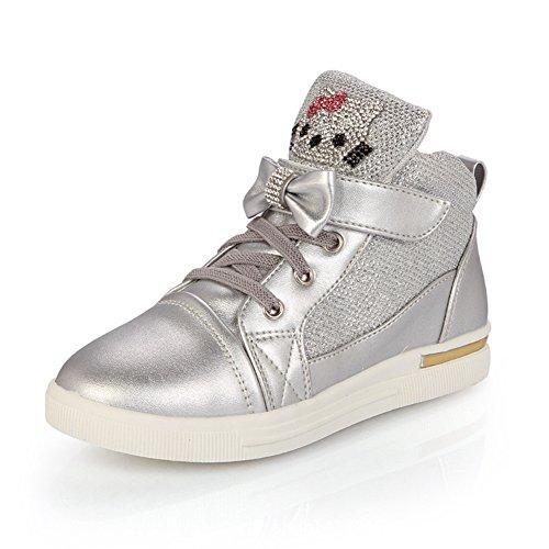 Mädchen Skateboardschuhe Glänzende Schnellverschluss Flache Lässige Frühling Sneakers Silber