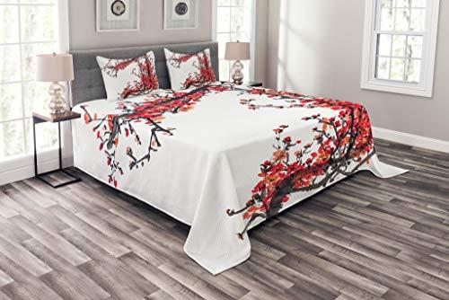 Abakuhaus japanisch Tagesdecke Set, Kirschblüte Sakura, Set mit Kissenbezügen Mit Digitaldruck, für Doppelbetten 220 x 220 cm, Rot und braun
