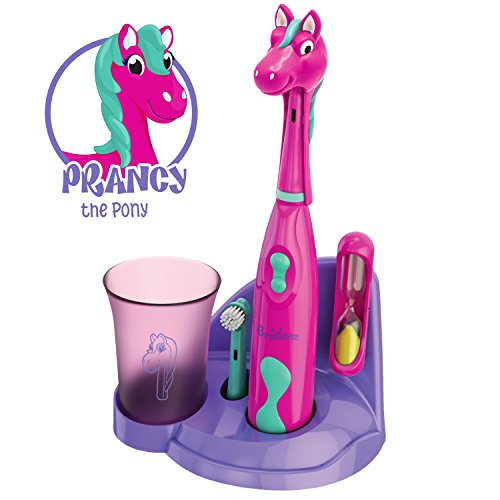 Brusheez-Childrens-Electric-Toothbrush-Includes-Toothbrush-Adorable-Head-Cover-2-Toothbrush-Heads-2-Minute-Sand-Timer-and-Holder-Stand-Prancy-the-Pony