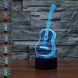 Gitarre Geschenk Nachtlicht 3D neben Tischlampe Illusion, Jawell 7 Farben ändern Touch Switch Schreibtisch Dekoration Lampen Geburtstag Weihnachtsgeschenk mit Acryl Flat & ABS Base & USB Kabel